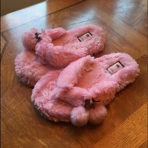 Juicy Couture Pink Pom Slippers